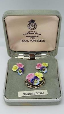 Vintage English sterling Silver Royal Worcester Earring and Brooch Set