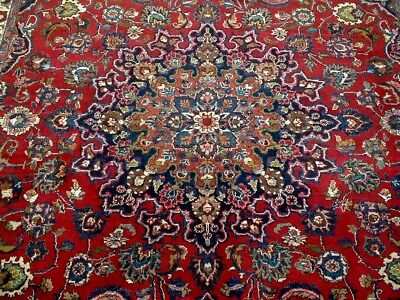 8X12 1940's SPECTACULAR ANTQ 70+YRS HAND KNOTTED SIGNED WOOL MASHAD PERSIAN RUG