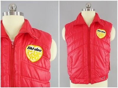 1980s Vintage Ski Doo I Love You Red Snowmobile Puffy Snowdrift Puffer Ski Vest