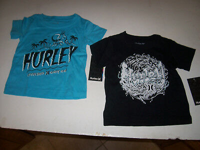 New Hurley short sleeve tee T shirt boys black waves or turquoise blue 2T 3T 4T