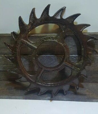Vintage Cast Iron Metal Pulley Sprocket Gear Wheel Industrial Steampunk 15""