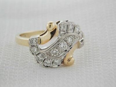 Estate 14K Yellow Gold & Platinum Diamond Antique Art Deco Ring