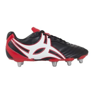 Gilbert Sidestep XV LOW Cut Hard Toe 8 Stud Rugby Boots - Black/Red - UK 7
