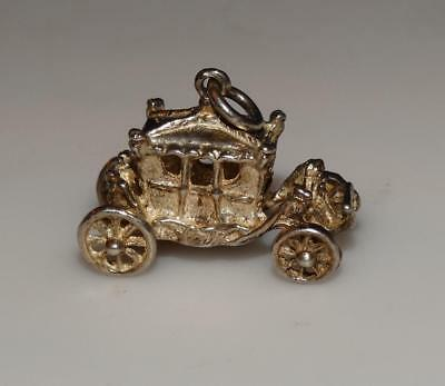 Vintage fancy CARRIAGE royality Articulated wheels 3D Sterling Silver Charm #21U