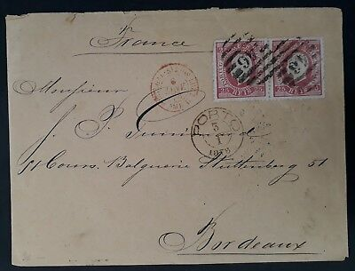 """RARE 1878 Portugal Cover ties 2 x 25R rose King Luis II stamps """"46"""" Porto"""