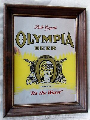 """Framed Olympia Beer Advertising Mirror(It's The Water)11"""" By 14 1/4"""""""