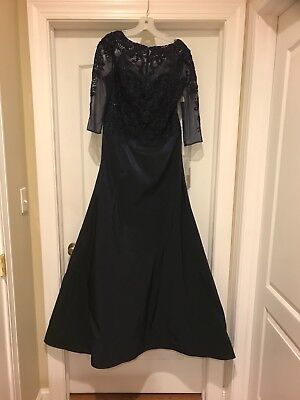 evening gown mother of bride teri jon style 5-7037size 12 navy