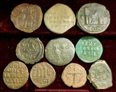 Lot of Ten Large Byzantine Coins, Largest 34 mm, Good Mix of Rulers! Jesus etc