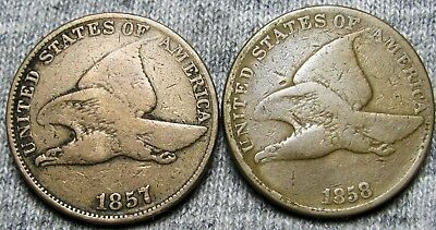 1857 + 1858 Flying Eagle Cents --- TYPE COINS LOT --- #U747