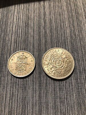 GREAT BRITAIN 1966 Two shilling coin and 1963 one shilling coin