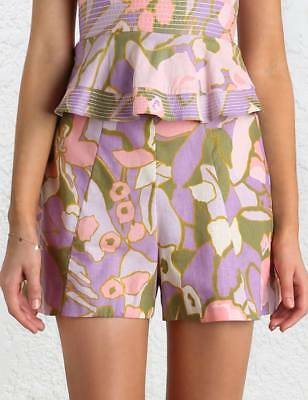 Zimmermann Pink Floral Lotte Quilted Flare Short - Size 0