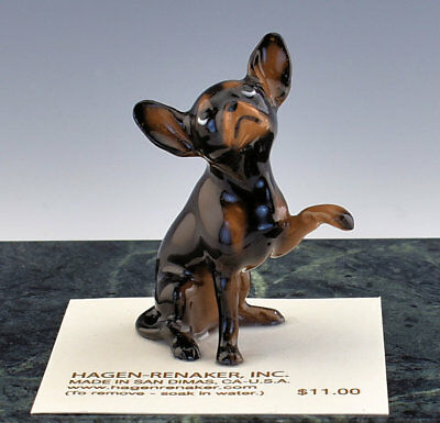 Hagen Renaker Miniature Dog Chihuahua Black & Brown  - New - Item # 01019