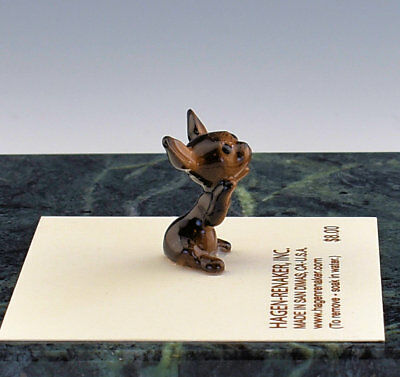 Hagen Renaker Miniature Dog Chihuahua Puppy Black & Brown  - New - Item # 00338