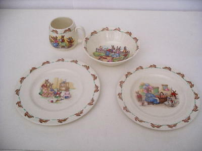 Adorable Royal Doulton Bunnykins 4-Piece Child's Filled Picture Meal Time Set!