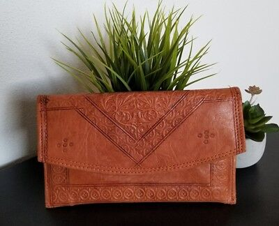 Vintage *TAN* Buttery Soft *MOROCCAN TOOLED LEATHER* Clutch/Wallet/Envelope BOHO