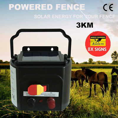 NEW 3km Solar Power Electric Fence Energiser Charger Farm Pet Animal 0.1J