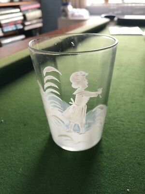 Antique Original Mary Gregory Clear Glass Tumbler Of Little Girl