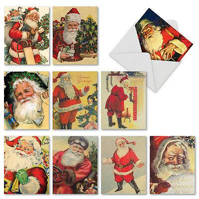 M2280 Santiques: 10 Assorted Christmas Note Cards w/White Envelopes. stationery