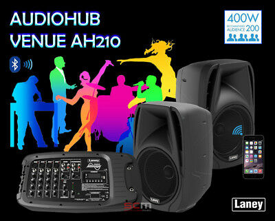 Laney AudioHub Complete PA System AH210 Bluetooth 2 Speakers and 6 Channel Mixer