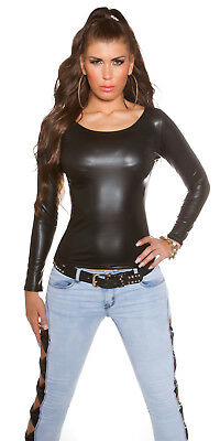 Sexy Wetlook langarm Shirt Top Shirt im Wet Look  34 36 38 Schwarz