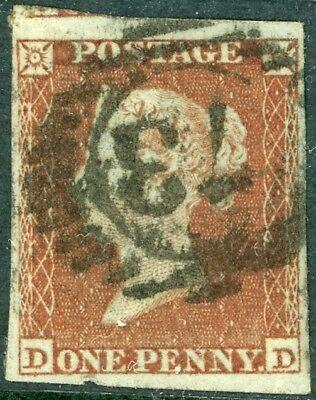 1841 1d red - DD scarcer plate 173 - four margins, no faults