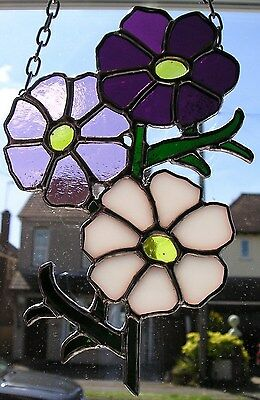 Stained Glass Cosmos Birthday Flower October Suncatcher Handmade in England