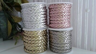 Faux Braided Flat metallic Leather Cord 7x2mm String Lace Thong Jewellery Craft