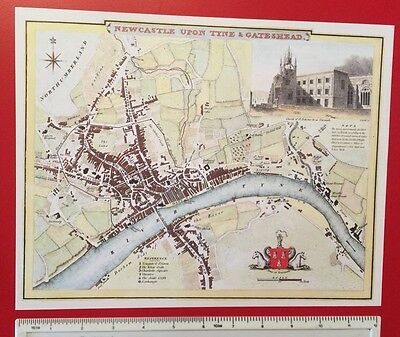 "Vintage antique map Newcastle & Gateshead: 1830s Cole & Roper 12"" x 9"" Reprint"