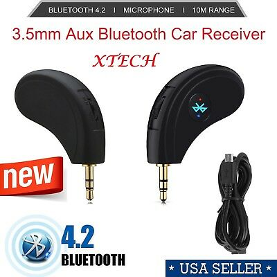 3.5mm AUX Car Bluetooth4.2 Receiver Speaker Music Streaming Audio Adapter Mic US