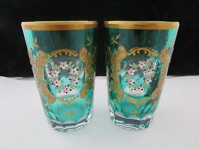 Rare Pair Of Early 20th Century Moser Gilt And Enamel Tumblers Glasses
