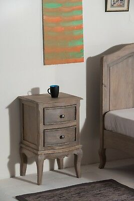Bordeaux Solid Mango Shabby Chic Vintage 2 Drawer Bedside Table FREE DELIVERY