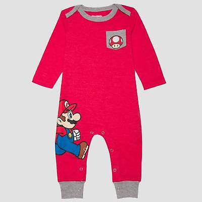 Baby Boys' Nintendo Super Mario Long Sleeve Romper - Red