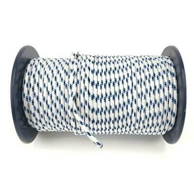 50m x 8mm White Blue Black Rope - Double Braid Polyester for Yacht Boat & Marine