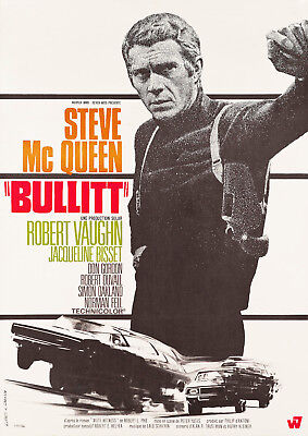 "Reproduction Steve McQueen Poster, ""Bullitt"", Home Wall Art"