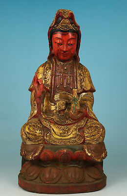 Big Chinese Old Wood Collection Handmade Carved Guanyin Statue