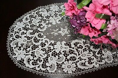 Vtg Antique WHITE Schiffli Guipure Lace Extra Fine Oval Table Runner Scarf