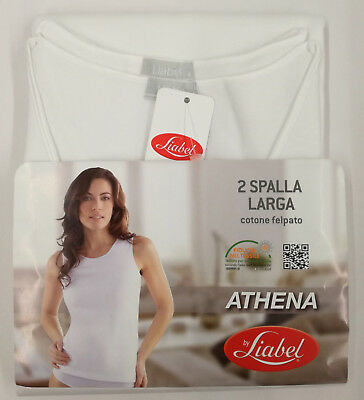 "Canottiera Donna  -Set 2 Top - Cotone Felpato - Spalla Larga - Bianco - ""Liabel"""