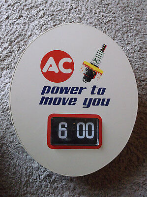 Vintage AC Spark Plugs Power To Move You  Advertising Wall Flip Clock ~ Working!