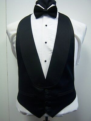 BLACK SATIN 4 BUTTON FORMAL VEST with SATIN SHAWL LAPEL - Easy fit adjustable