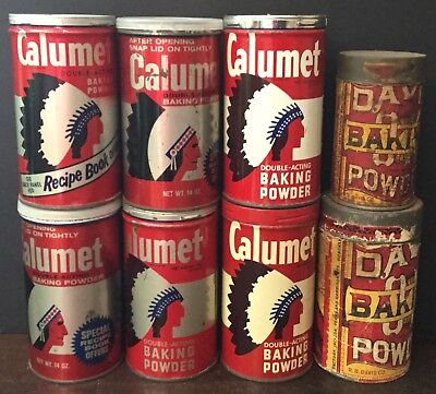 Old Vtg Antique Baking Powder Calumet Davis Kitchen Can Native American Lot Of 8