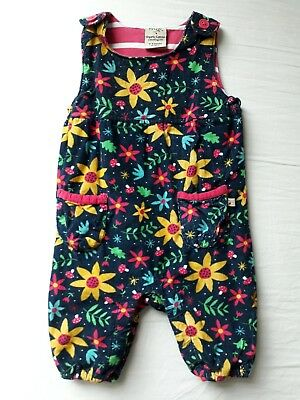 Frugi Willow Cord Navy Forest Floral Dungarees Age 3-6 Months