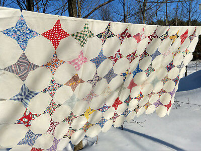 Vintage Antique Four Pointed Star Feed Flour Sack Bag Pieced Stitched Quilt Top
