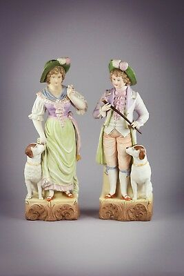Pair Of Antique German Bisque Figural Groups, Early 20th Century