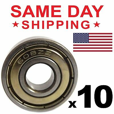 608-ZZ Ball Bearing 8x22x7 Dual Shielded Metal Chrome Skateboard 608Z 10 PCS LOT