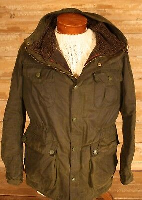 "Barbour ""brindle"" Waxed Cotton Hooded Jacket Sz M!!!"