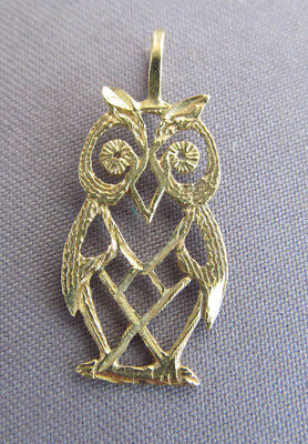 Vintage 14K Yellow Gold Cut Out Owl Charm Pendant