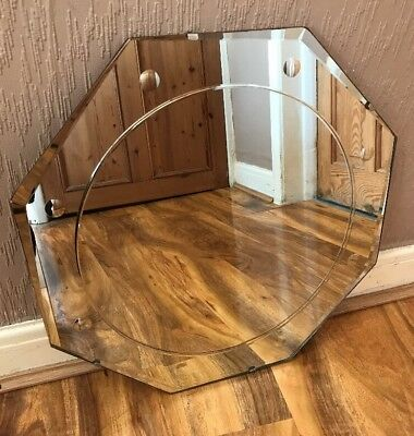 VINTAGE Retro Bevelled Edge Frameless Octagon Shaped Wall MIRROR Art Deco,