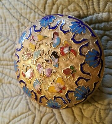 Beautiful Antique Brass Cloisonne Enamel Box & Lid Butterflies Champleve Unique