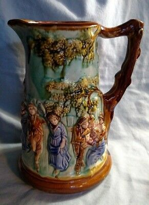 Majolica Nimy Les Mons Pitcher in the Tavern Motif