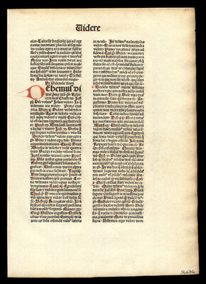 Original 1481  Incunable Leaf Mysterious Theologian Nicolaus de Byard  Dominican